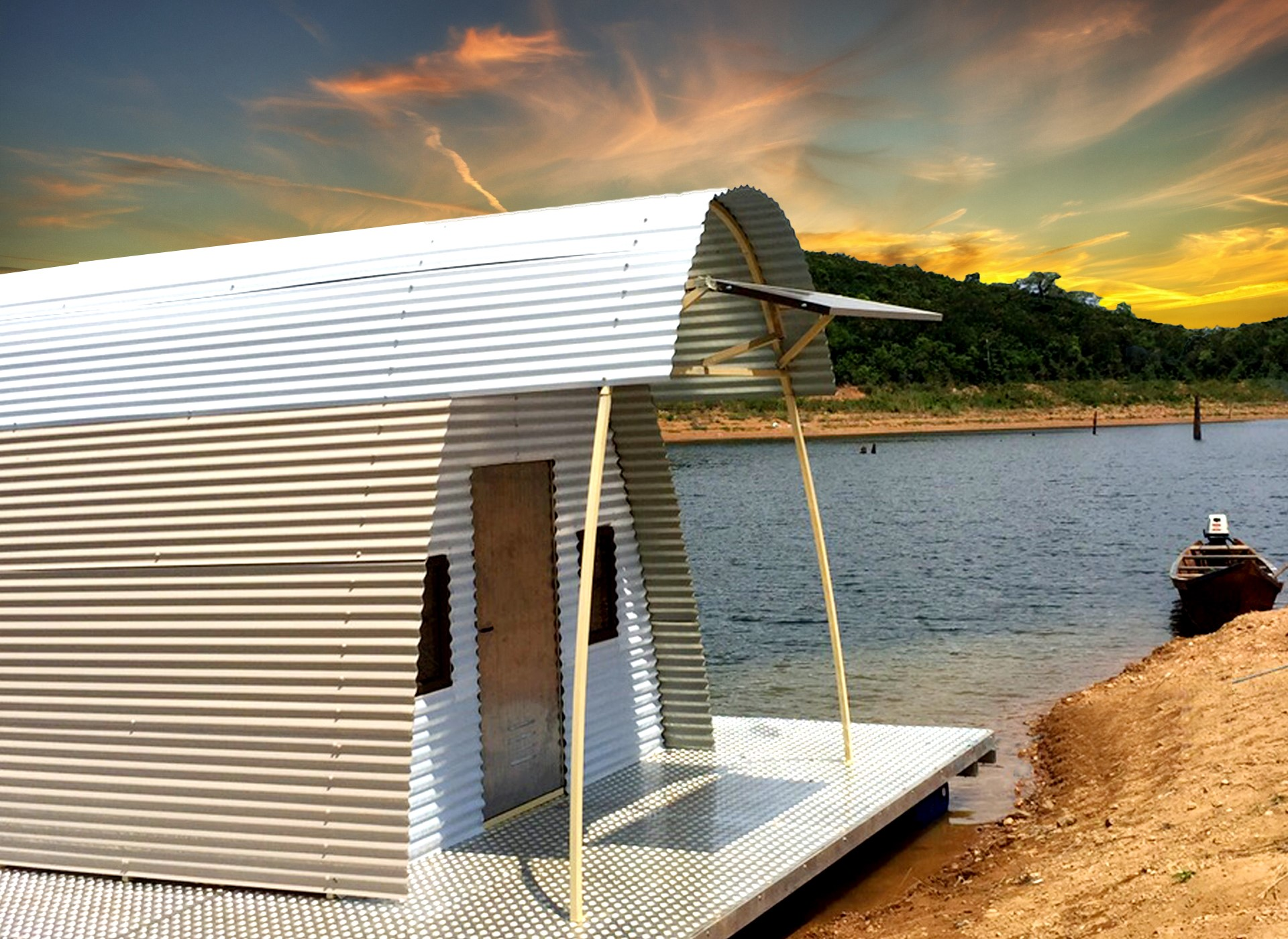 Side Of House Boat Shelter : News abod shelters one house family day
